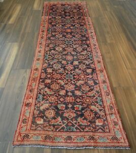 Vintage Hand Knotted Herat Tribal Runner Rug Navy Blue 3 X 10