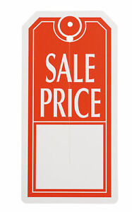 Red white Sales Price Slit Tags Carton Of 1 000