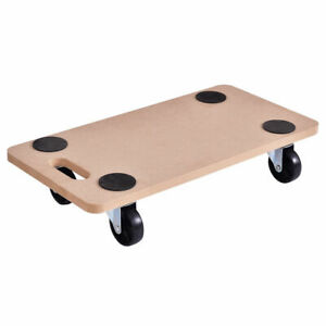 Costway 440lbs Platform Dolly Rectangle Wood Utility Cart Moving Transporter