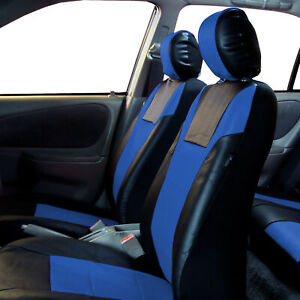 Blue Black Leatherette Car Seat Covers Front Buckets Synthetic Leather Auto