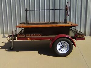 Commercial Mobile Bbq Trailer Gas Powered Bbq Grill Custom Made Bbq Trailer