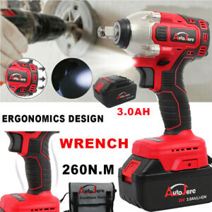 New 260nm 20v Max Impact Wrench Brushless Cordless 1 2 Sockets Tool Set Battery