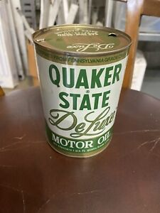 Vtg. QUAKER STATE DELUXE Motor Oil Metal 1 Quart Can empty GAS STATION Gasoline