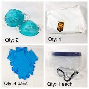 Ppe Protective Suit Hood Coverall Goggles Shield N 9five 1860 Face Cover 9pc