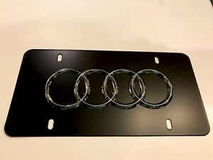 Audi 4 Ring 3d Chrome Black Powder Coated Metal License Plate With Screw Caps