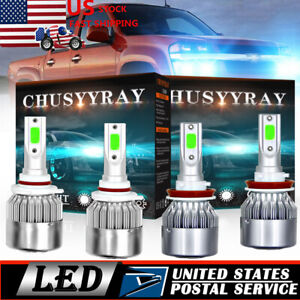 Ice Blue Led Headlight Bulbs Hi low Beam For Chevy Silverado 1500 2500 2007 2015
