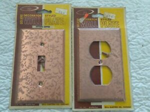 Nos Bell Antique Copper Finish Wall Plate 1 Outlet Covers 1 Switch Covers