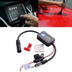 Universal Car Amplified Antenna 12v Electronic Stereo Fm Am Radio Booster Inline