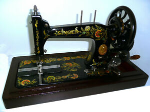 Antique Vintage Singer 48k Black Wheel Sewing Machine Hand Crank Original Rare