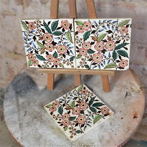 Antique Reclaimed Victorian Tint Print Tiles Trio Salvage Pretty Decorative