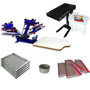 4 Color 1 Station Screen Press Flash Dryer Kit With Frame Squeegee Etc