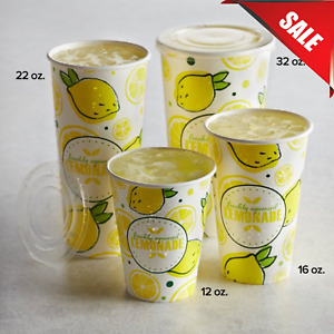 Multiple Sizes 500 pack Disposable Paper Lemonade Print Cup Concession Stand