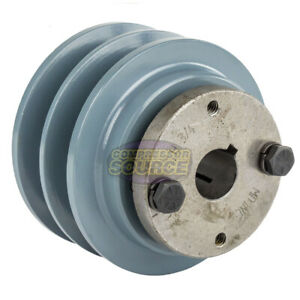 Cast Iron 3 5 2 Groove Dual Belt B Section 5l Pulley With 3 4 Sheave Bushing