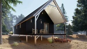 U s Made Steel On Off Grid Tiny Cabin tiny Home Kit Covered Patio Easy To Diy