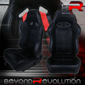 For Mercedes Benz Pvc Leather Bucket Racing Seat Pair Fully Reclinable Black
