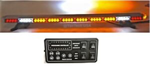 49 Amber Led Light Bar W Cargo Brake Tail Turn Signal Tow Truck Plow Police
