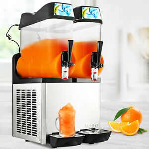 Commercial 2 Tanks Frozen Drink Slushy Making Machine Smoothie Maker 24l