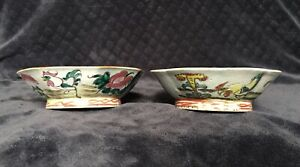 Antique Chinese Export Famille Rose Rooster Bowls