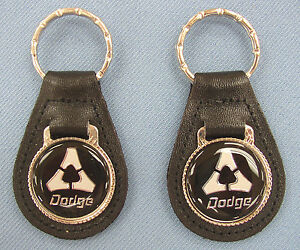2 Dodge Triangle Vintage Logo Leather Key Rings Key Fobs Key Holders