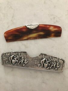 Vintage Silver Plate Comb Holder And Tortoise Style Comb Made In Denmark