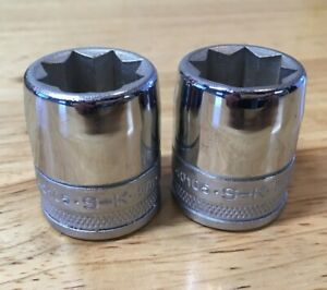 2 New S K 40105 Double Square 5 8 Sockets 1 2 Drive 8 Point 8 Pt