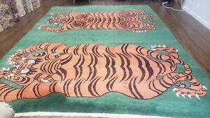 9 X 12 Tufenkian Hand Made Tibetan Nepal Wool Rug Tigers Rug Green Orange