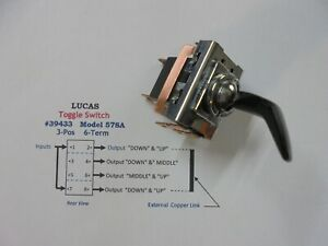 Lucas Vintage 39433 3 pos 6 term Curved Arm Toggle Switch