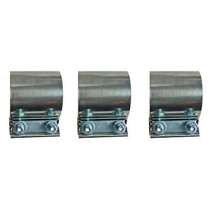 3x 4 Stainless Steel Exhaust Band Clamps Sleeve Coupler For Catback Muffler