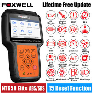 Foxwell Nt650 Elite Code Reader Obdii Scanner Abs Srs Engine Dpf Epb Tpms Tool