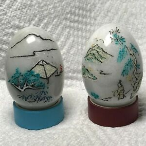Pair Of Etched Hand painted Decorative Polished Marble Eggs Asian Village Scenes