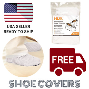 Hdx One Size Fits Most White Disposable Shoe Covers Booties 12 pairs 04614
