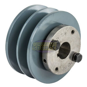 Cast Iron 3 75 2 Groove Dual Belt B Section 5l Pulley With 7 8 Sheave Bushing