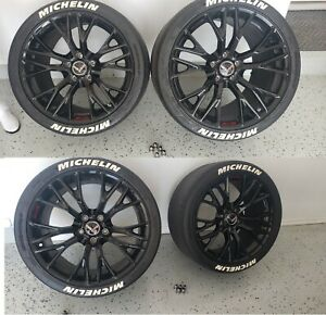 Used Oem C7 Z06 Gloss Black Corvette 4 Wheels Cup2 Tires 19x10 20x12 Tpms Lugs