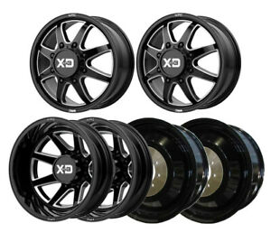 Xd845 G blk Mil F r i Dually Wheels 22 Chr Spline Lug For Silverado 3500hd