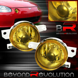 For 93 97 Honda Civic Del Sol Eg2 Front Bumper Driving Fog Lights Lamps Yellow