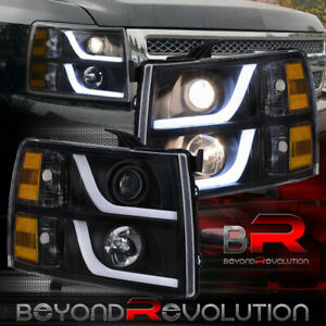 For 2007 2013 Silverado Head Lights Led Drl Black Housing Amber Signal Lamps Set
