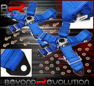 Universal 3 Strap 5 Point Cam Lock Racing Seat Belt Harness Quick Release Blue