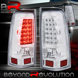 For 1999 2006 Chevy Silverado 1500 Chrome Clear Led Brake Tail Lights Lamps Set