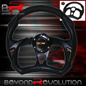 Black Pvc Leather 320mm 6 Bolt Hole Steering Wheel Jdm Godsnow Horn Button