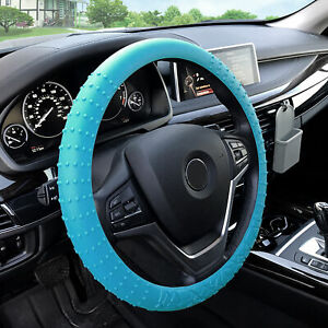 Silicone Steering Wheel Cover Nibs Sturdy Massage Grip Light Blue For Auto