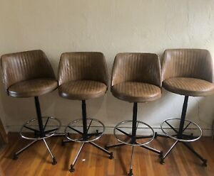 Vintage Mid Century Cosco Swivel Bar Stool Set Of 2