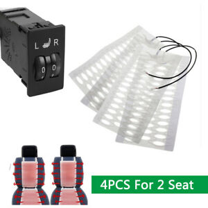 4pcs Carbon Fiber Heated Seat Heating Pad W 5 level Switch For 2 Seat Universal
