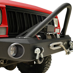 Stinger Front Bumper With Winch Plate Fit 84 01 Jeep Cherokee Xj