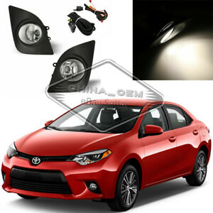 Clear Fog Lamps For 2014 2015 2016 Toyota Corolla Driving Lamp W switch bulb