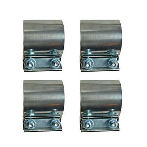 New 4x 4 Stainless Steel Butt Joint Band Exhaust Clamp Sleeve Coupler T304