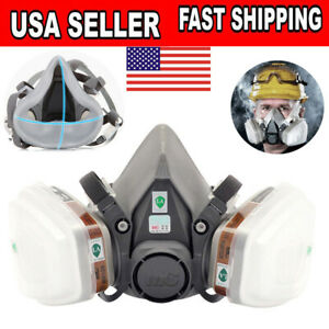 2 Pcs 6200 Half Face Gas Mask Respirator Car Painting Spraying Filter Facepiece
