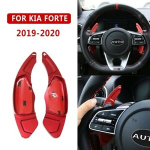 For Kia Forte 2019 2020 Inner Steering Wheel Shift Paddle Shifter Cover Trim Red