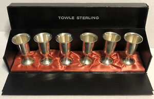 Set Of 6 Towle Sterling Silver Cordial Shot Glasses 58 Mint In Box 3