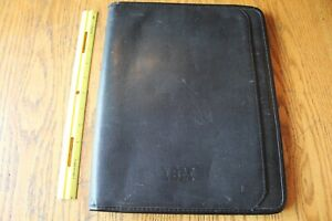 Vintage Ibm Leed s Black Leather Portfolio Organizer Notebook Holder Folder