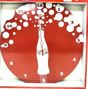 Coca Cola Clock Brushed Aluminum NEW Large Coke Wall Clock BUBBLE BURST Logo